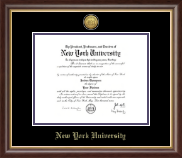 New York University Diploma Frame - Gold Engraved Medallion Diploma Frame in Hampshire