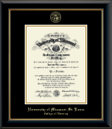 University of Missouri Saint Louis Diploma Frame - Gold Embossed Diploma Frame in Onyx Gold