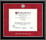 Stanford University Diploma Frame - Silver Engraved Medallion Diploma Frame in Onyx Silver