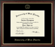 University of West Florida Diploma Frame - Gold Embossed Diploma Frame in Studio Gold