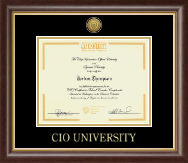 CIO University Certificate Frame - Gold Engraved Certificate Frame in Hampshire