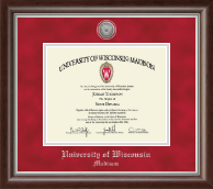 University of Wisconsin Madison Diploma Frame - Silver Engraved Medallion Diploma Frame in Devonshire