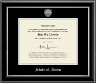 State of Iowa Certificate Frame - Silver Engraved Medallion Certificate Frame in Onyx Silver