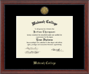 Wabash College Diploma Frame - Gold Engraved Diploma Frame in Signature