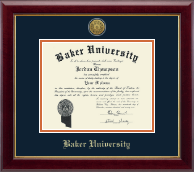 Baker University Diploma Frame - Gold Engraved Diploma Frame in Gallery