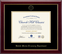 United States Treasury Department Certificate Frame - Gold Embossed Certificate Frame in Gallery