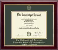 The University of Vermont Diploma Frame - Gold Embossed Diploma Frame in Gallery