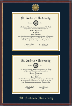 Saint Ambrose University Diploma Frame - Gold Engraved Double Diploma Frame in Kensit Gold