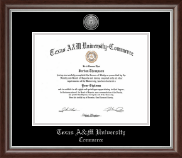 Texas A&M University - Commerce Diploma Frame - Silver Engraved Medallion Diploma Frame in Devonshire