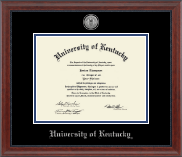 University of Kentucky Diploma Frame - Silver Engraved Medallion Diploma Frame in Signature