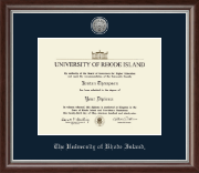 The University of Rhode Island Diploma Frame - Silver Engraved Diploma Frame in Devonshire