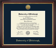 University of Pittsburgh Diploma Frame - Gold Engraved Medallion Diploma Frame in Regency Gold