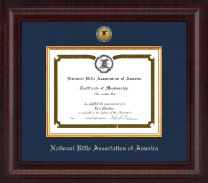 National Rifle Association of America Certificate Frame - Presidential Gold Engraved Certificate Frame in Premier