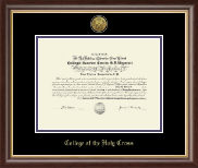 College of the Holy Cross Diploma Frame - Gold Engraved Medallion Diploma Frame in Hampshire