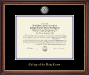 College of the Holy Cross Diploma Frame - Purple Enamel Masterpiece Medallion Diploma Frame in Kensington Gold