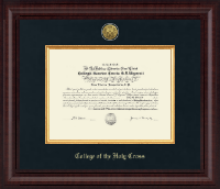 College of the Holy Cross Diploma Frame - Presidential Gold Engraved Diploma Frame in Premier