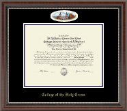 College of the Holy Cross Diploma Frame - Campus Cameo Diploma Frame in Chateau