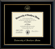 University of Southern Maine Diploma Frame - Gold Embossed Diploma Frame in Onyx Gold