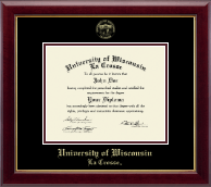 University of Wisconsin La Crosse Diploma Frame - Gold Embossed Diploma Frame in Gallery