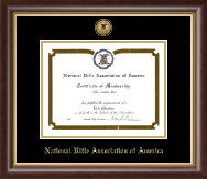 National Rifle Association of America Certificate Frame - Gold Engraved Medallion Certificate Frame in Hampshire