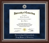 University of Connecticut Diploma Frame - Silver Engraved Medallion Diploma Frame in Devonshire