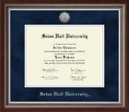 Seton Hall University Diploma Frame - Silver Engraved Medallion Diploma Frame in Devonshire