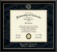 University of Colorado Boulder Diploma Frame - Gold Embossed Diploma Frame in Onyx Gold