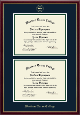 Western Texas College Diploma Frame - Gold Embossed Double Diploma Frame in Galleria