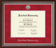 Fairfield University Diploma Frame - Silver Engraved Diploma Frame in Devonshire