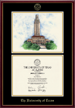 The University of Texas Austin Diploma Frame - Campus Scene Lithograph Diploma Frame in Galleria