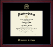 Harrison College Diploma Frame - Gold Embossed Academy Frame in Academy