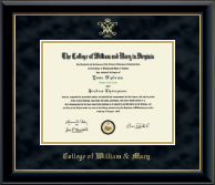 William & Mary Diploma Frame - Gold Embossed Diploma Frame in Onyx Gold