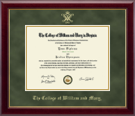William & Mary Diploma Frame - Gold Embossed Diploma Frame in Gallery