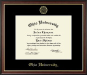 Ohio University Diploma Frame - Gold Embossed Diploma Frame in Studio Gold