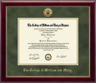 William & Mary Diploma Frame - Gold Engraved Cypher Logo Medallion Diploma Frame in Gallery