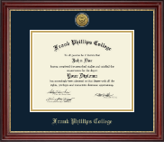 Frank Phillips College Diploma Frame - Gold Engraved Diploma Frame in Kensington Gold
