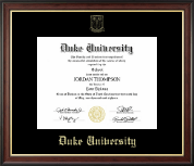 Duke University Diploma Frame - Gold Embossed Diploma Frame in Studio Gold
