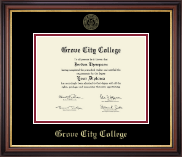 Grove City College Diploma Frame - Gold Embossed Diploma Frame in Regency Gold