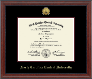 North Carolina Central University Diploma Frame - Gold Engraved Medallion Diploma Frame in Signature