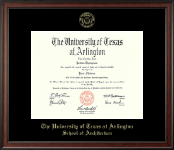The University of Texas Arlington (UTA) Diploma Frame - Gold Embossed Diploma Frame in Studio