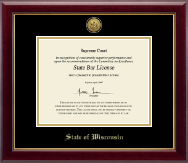 State of Wisconsin Certificate Frame - Gold Engraved Medallion Certificate Frame in Gallery