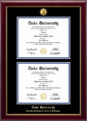 Duke University Diploma Frame - 23K Double Diploma Frame in Gallery