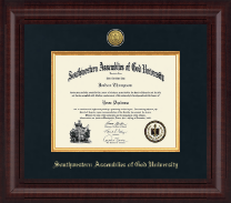 Southwestern Assemblies of God University Diploma Frame - Presidential Gold Engraved Diploma Frame in Premier