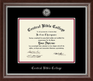 Central Bible College Diploma Frame - Silver Engraved Medallion Diploma Frame in Devonshire
