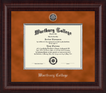 Wartburg College Diploma Frame - Presidential Silver Engraved Diploma Frame in Premier