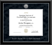 American Institute of Certified Public Accountants Certificate Frame - Silver Engraved Medallion Certificate Frame in Onyx Silver