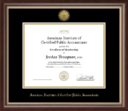 American Institute of Certified Public Accountants Certificate Frame - Gold Engraved Medallion Certificate Frame in Hampshire