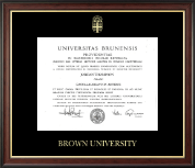 Brown University Diploma Frame - Gold Embossed Diploma Frame in Studio Gold
