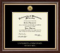 University of Wisconsin-Milwaukee Diploma Frame - Gold Engraved Medallion Diploma Frame in Hampshire