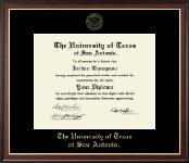 The University of Texas San Antonio Diploma Frame - Gold Embossed Diploma Frame in Studio Gold